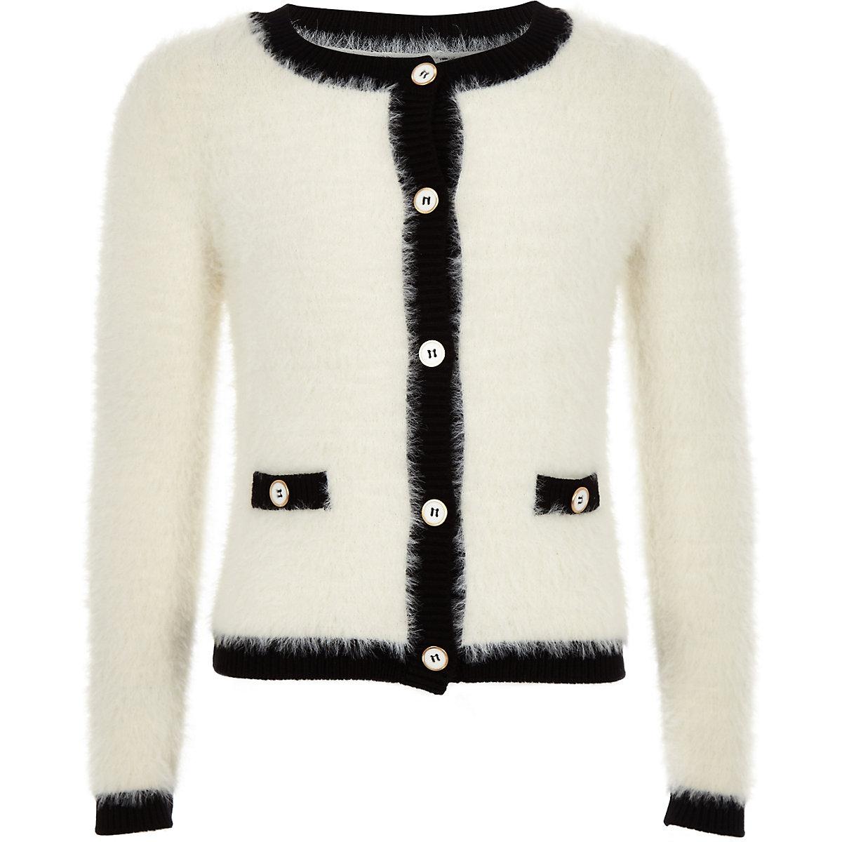 Girls cream fluffy button through cardigan