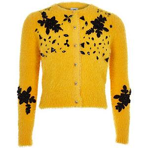Cardigan duveteux jaune orné pour fille