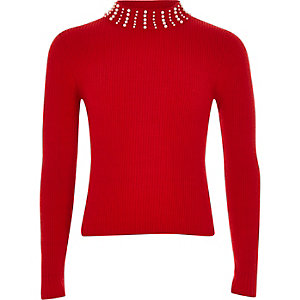Girls red pearl embellished high neck top