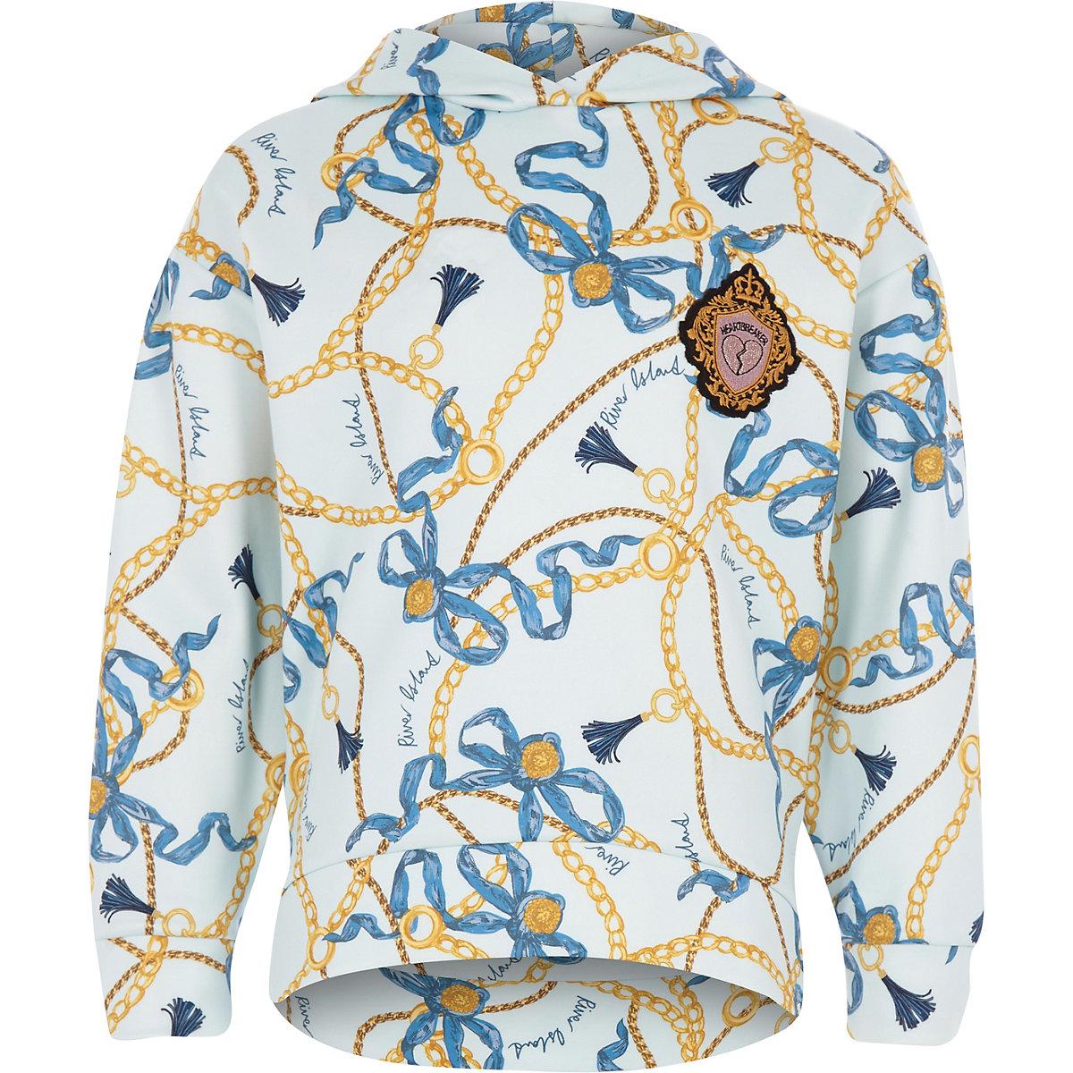 Girls blue chain print hoodie