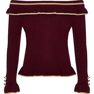 Girls burgundy rib bardot frill top