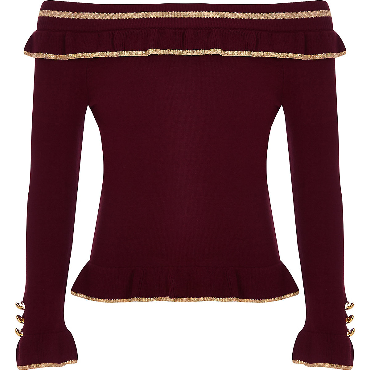 Girls burgundy rib bardot frill top