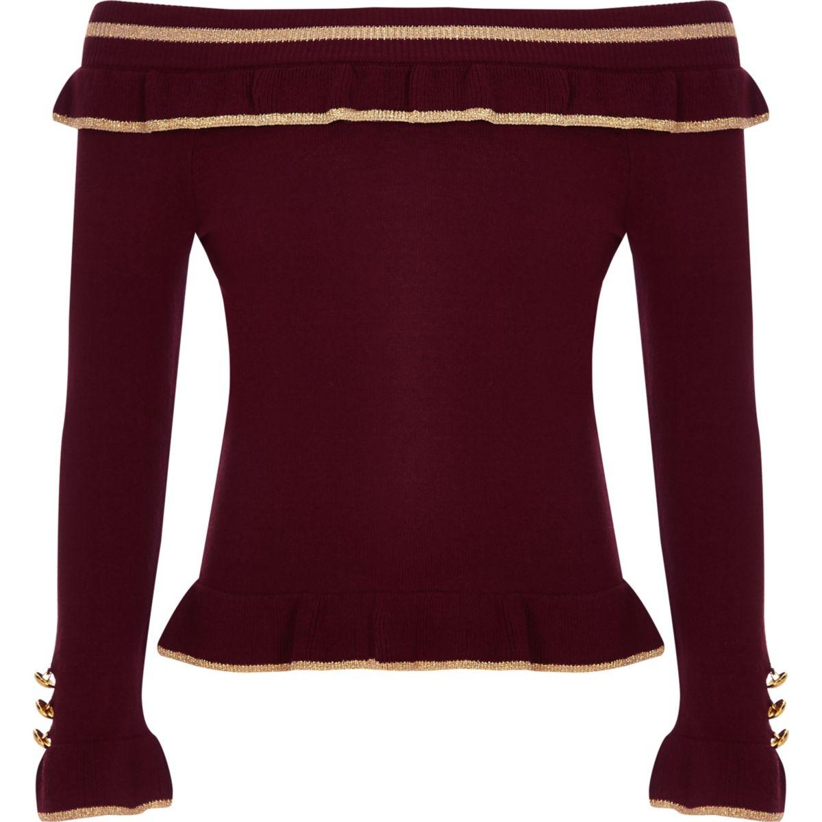 8821abede2b1c Girls burgundy rib bardot frill top - Long Sleeve Tops - Tops - girls