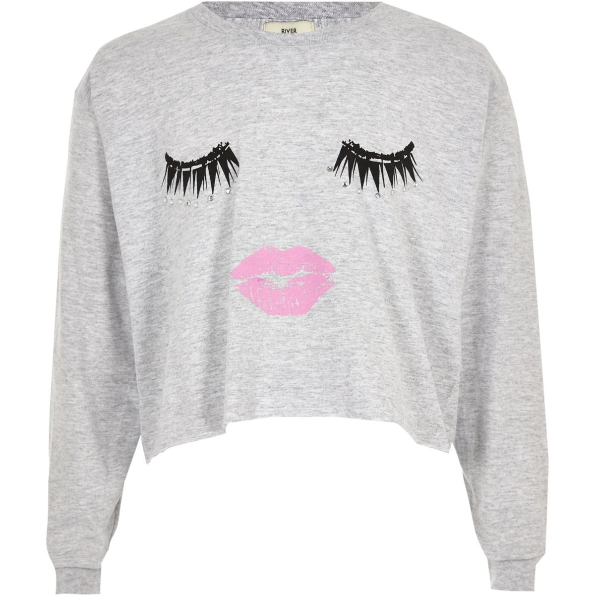 Girls grey eyelash print long sleeve T-shirt