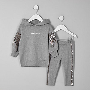 Mini girls grey sequin balloon sleeve hoodie