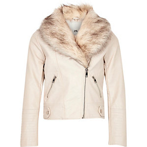 Girls cream faux fur biker jacket