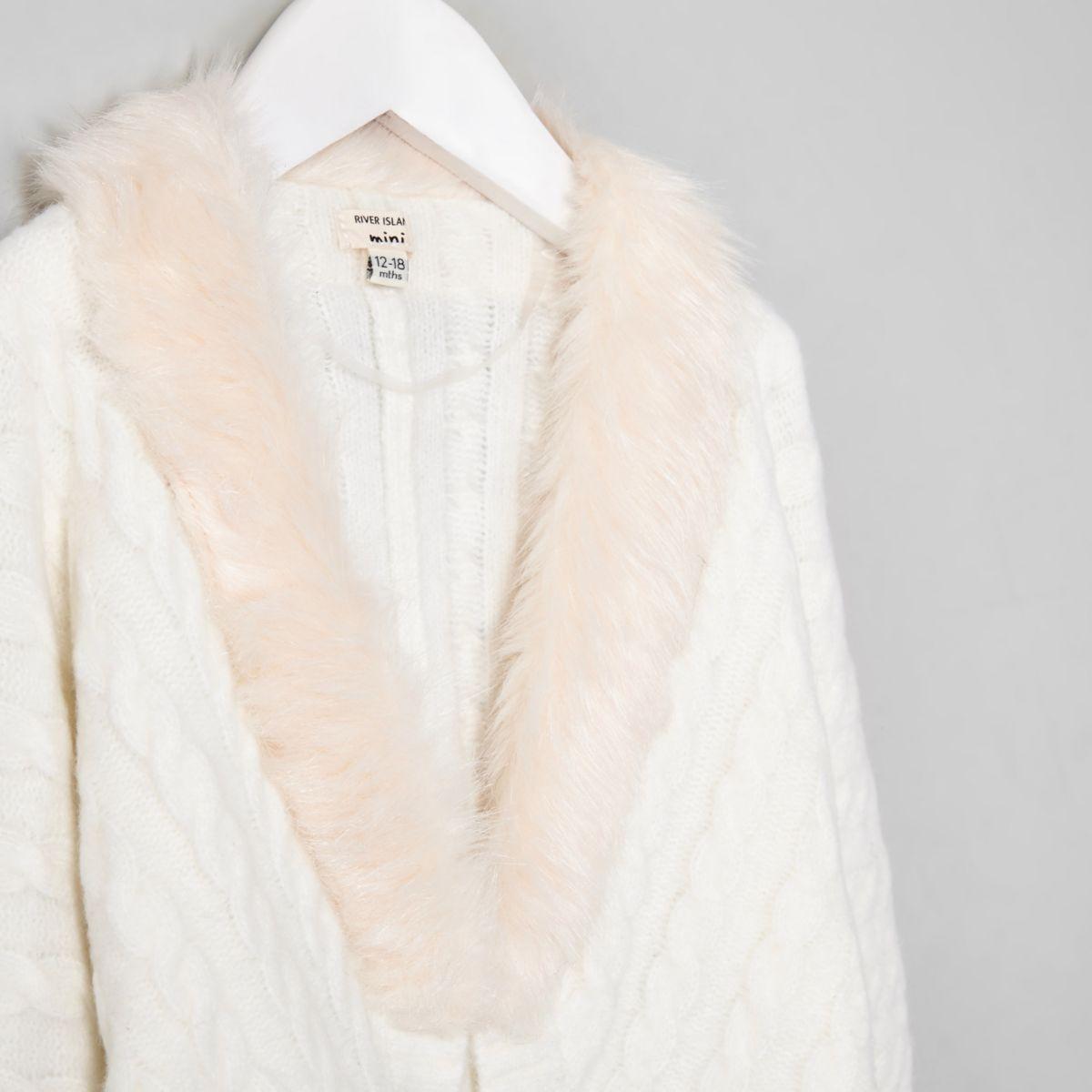 fd978108c wholesale price e8eb6 eb582 mini girls cream faux fur sweater ...