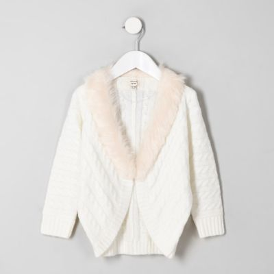 Mini Girls Cream Cable Knit Faux Fur Cardigan by River Island