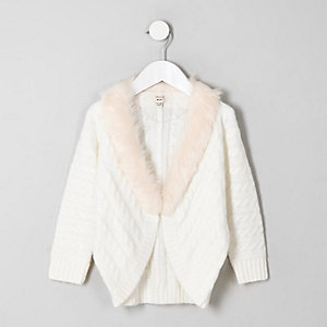 Mini girls cream cable knit faux fur cardigan