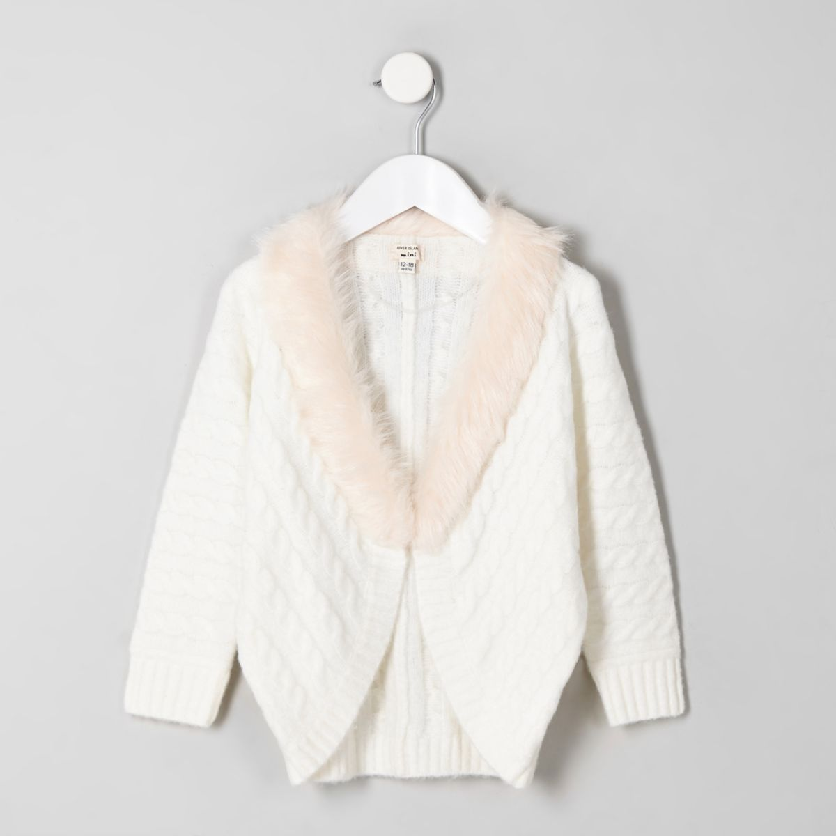 Mini girls cream cable knit faux fur cardigan