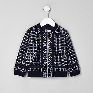 Mini girls navy boucle zip bomber jacket