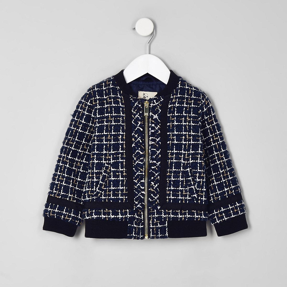 Mini girls navy boucle zip bomber jacket