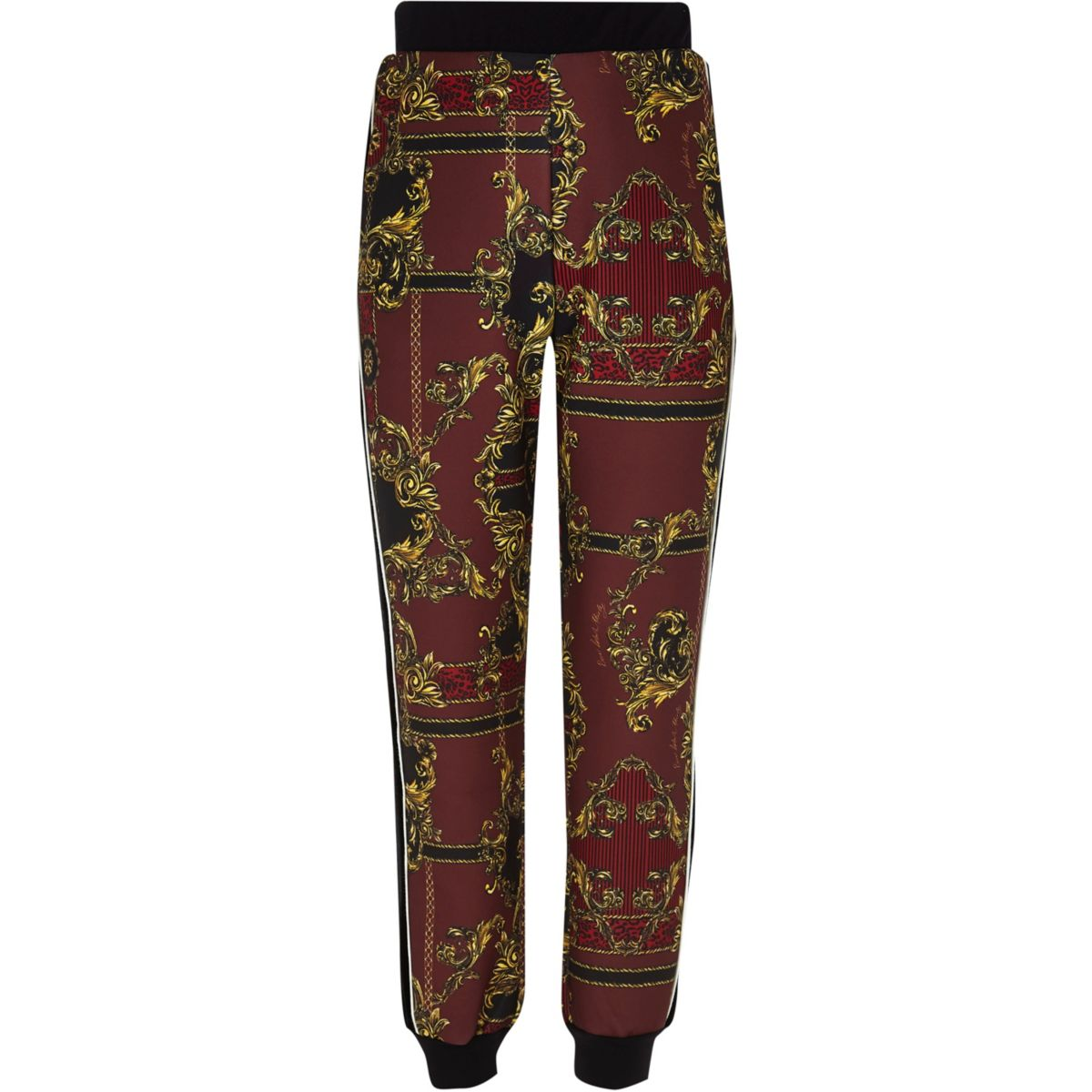 RI 30 girls red printed tracksuit bottoms