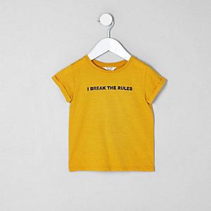 Mini girls yellow 'I break the rules' T-shirt