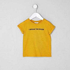 T-shirt « I break the rules » jaune pour mini fille