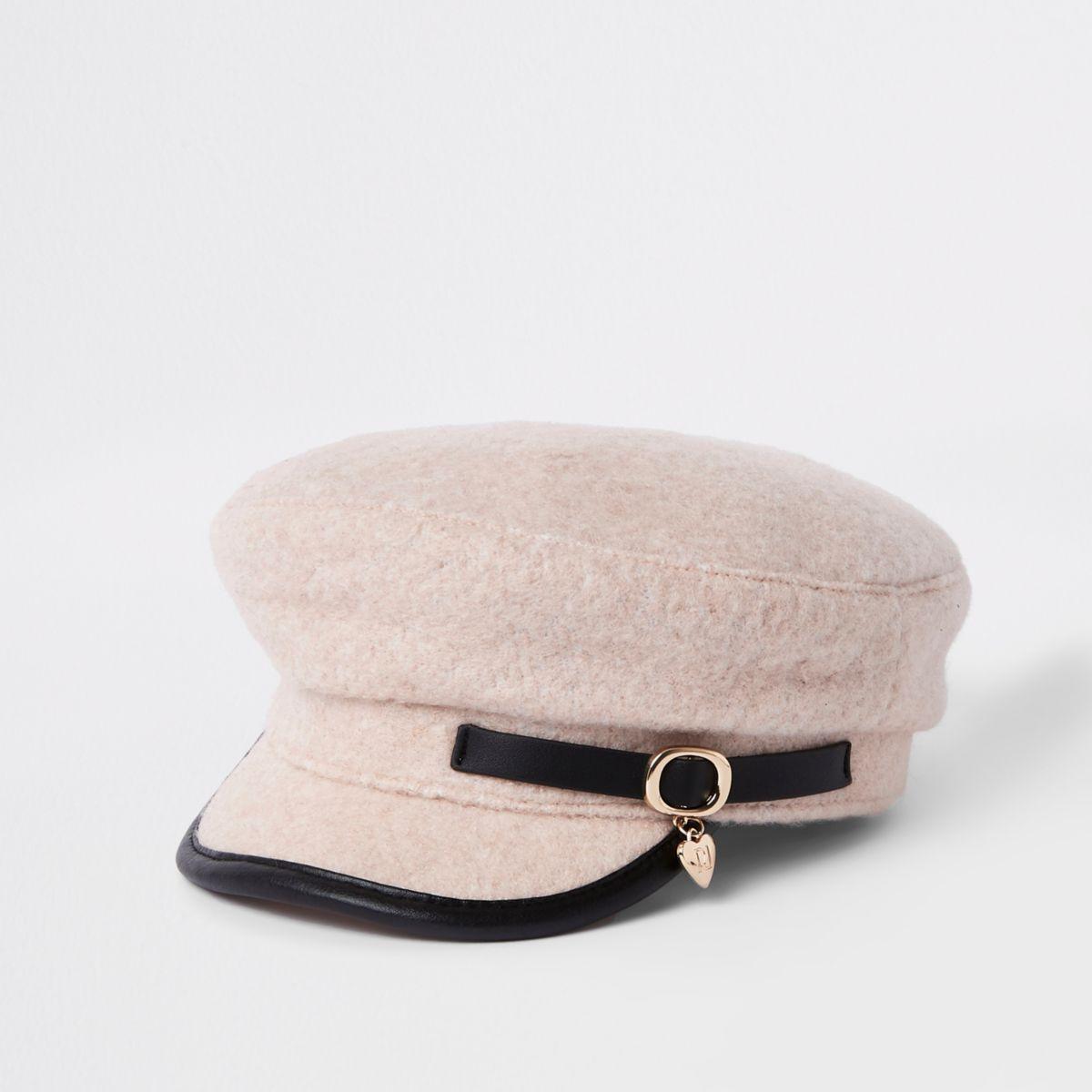 Mini girls pink charm baker boy hat