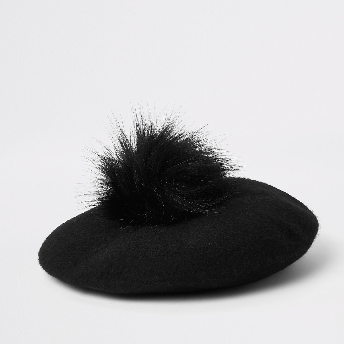 Mini girls black felt faux fur pom pom beret