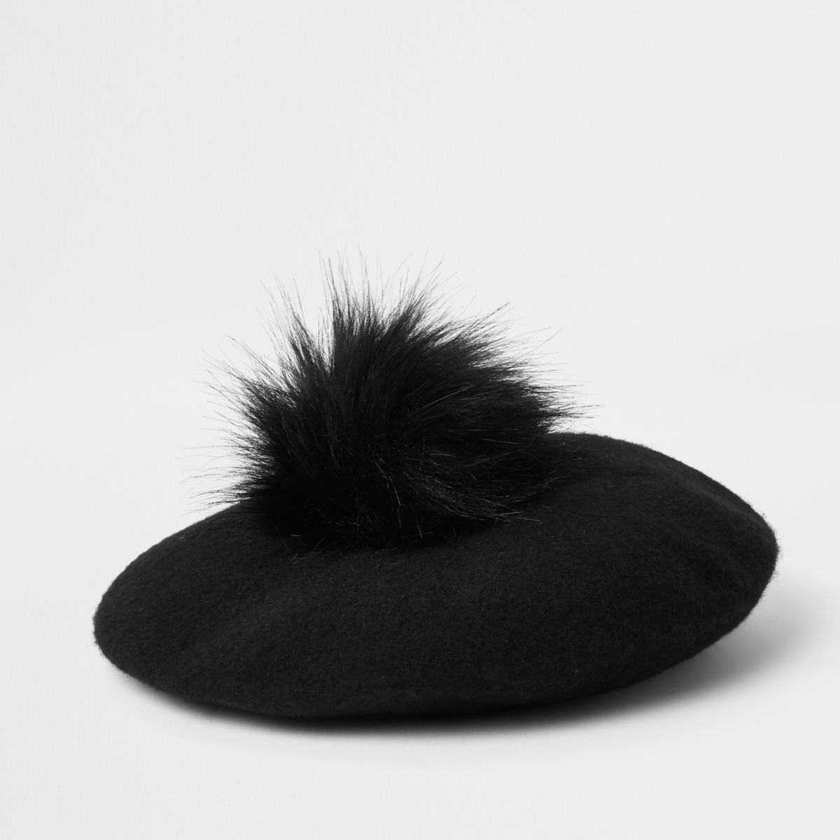 Mini girls black felt pom pom beret