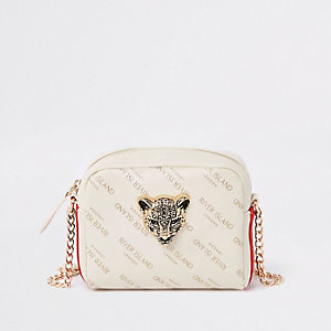 Girls cream RI leopard charm cross body bag