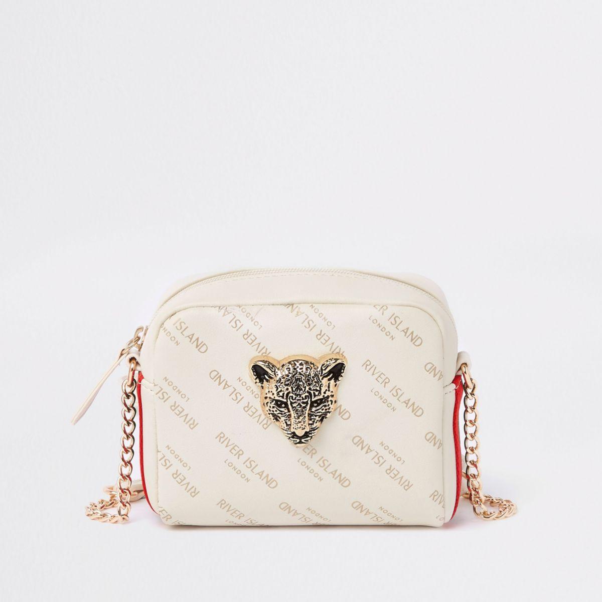 Girls cream RI tiger charm cross body bag