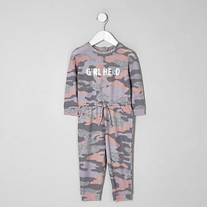 Mini girls pink camo onesie