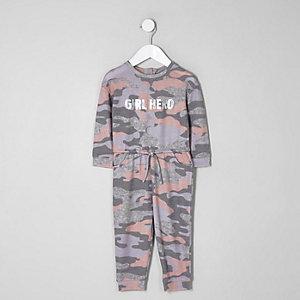 Mini - Roze onesie met camouflageprint voor meisjes