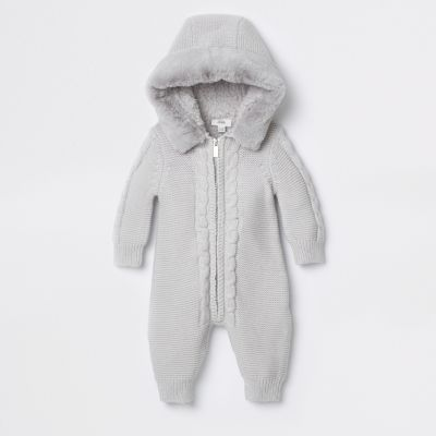 Baby Grey Knitted All In One by River Island