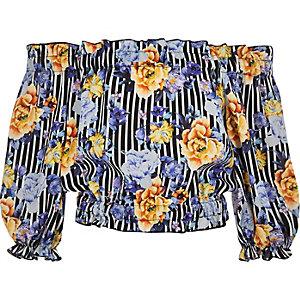 Blauwe gestreepte crop top in bardotstijl met bloemenprint voor meisjes