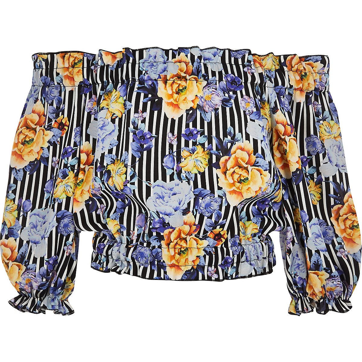 Girls blue floral stripe bardot crop top