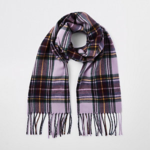 Girls purple tartan check scarf