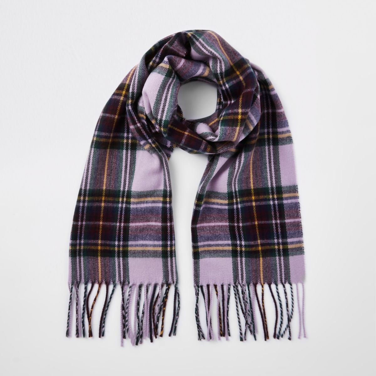 Girls purple plaid check scarf