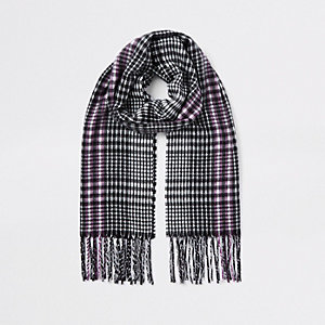 Girls black mono check scarf