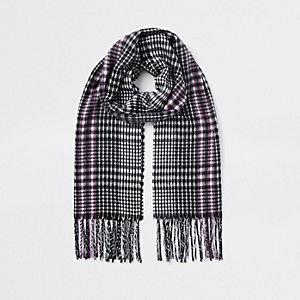 Écharpe noire et blanche à carreaux pour fille