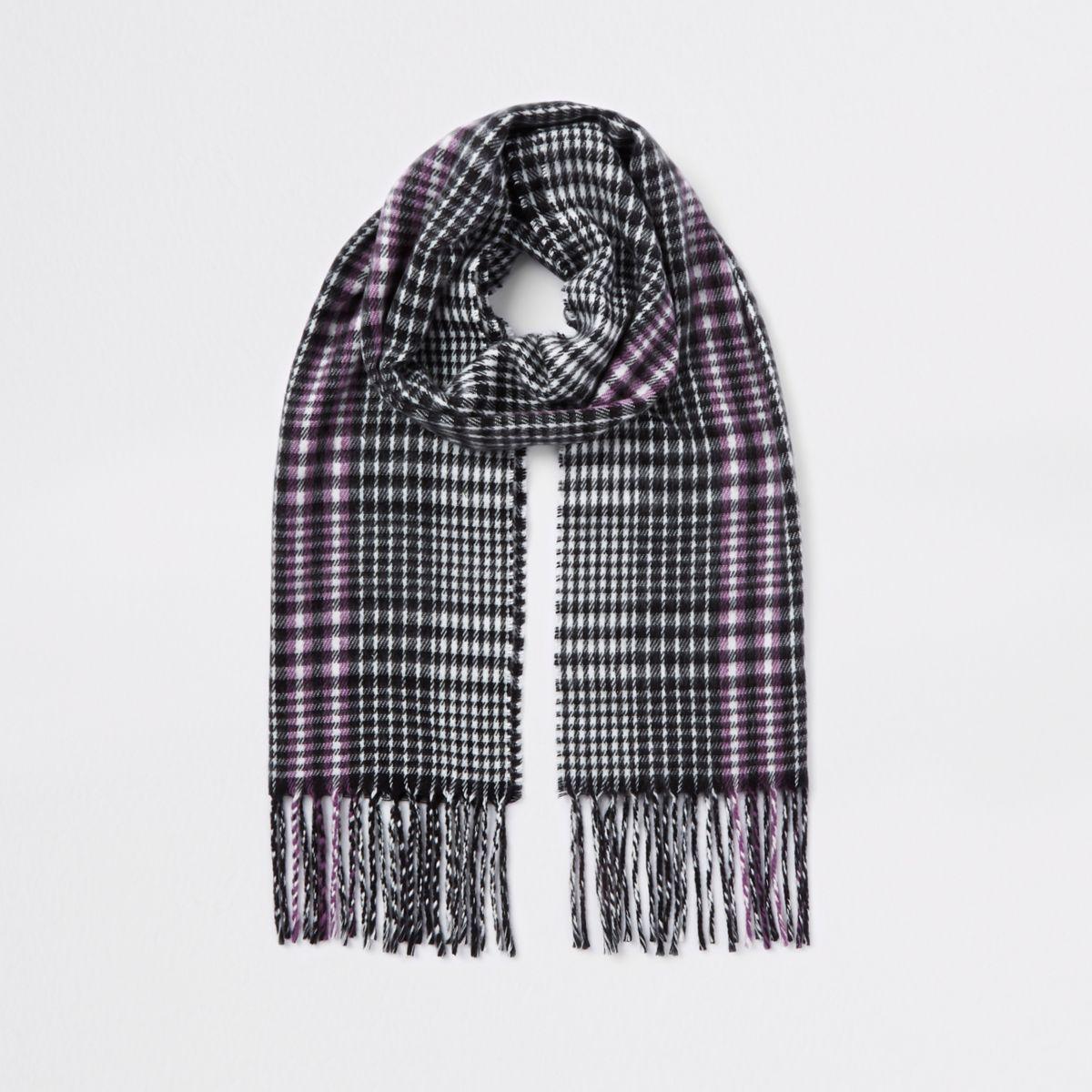 Girls black mono check scarf