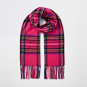 Écharpe à carreaux écossais rose pour fille