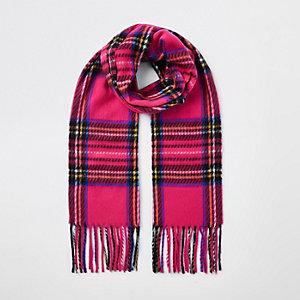 Roze sjaal met ruiten voor meisjes