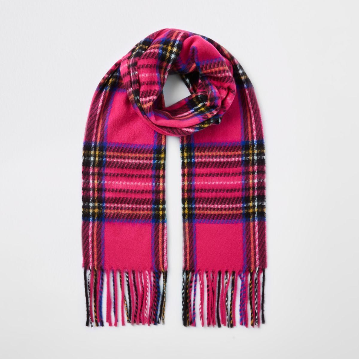 Girls pink tartan check scarf