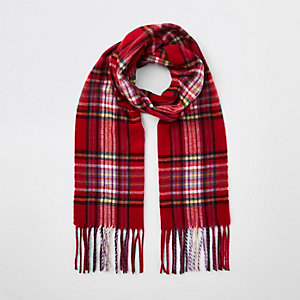 Girls red tartan check scarf