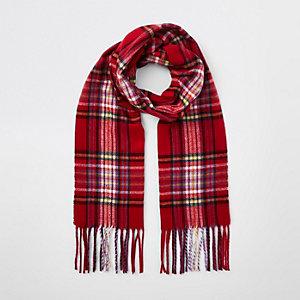 Girls red tartan check scarf