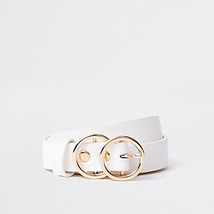 Girls white double circle belt
