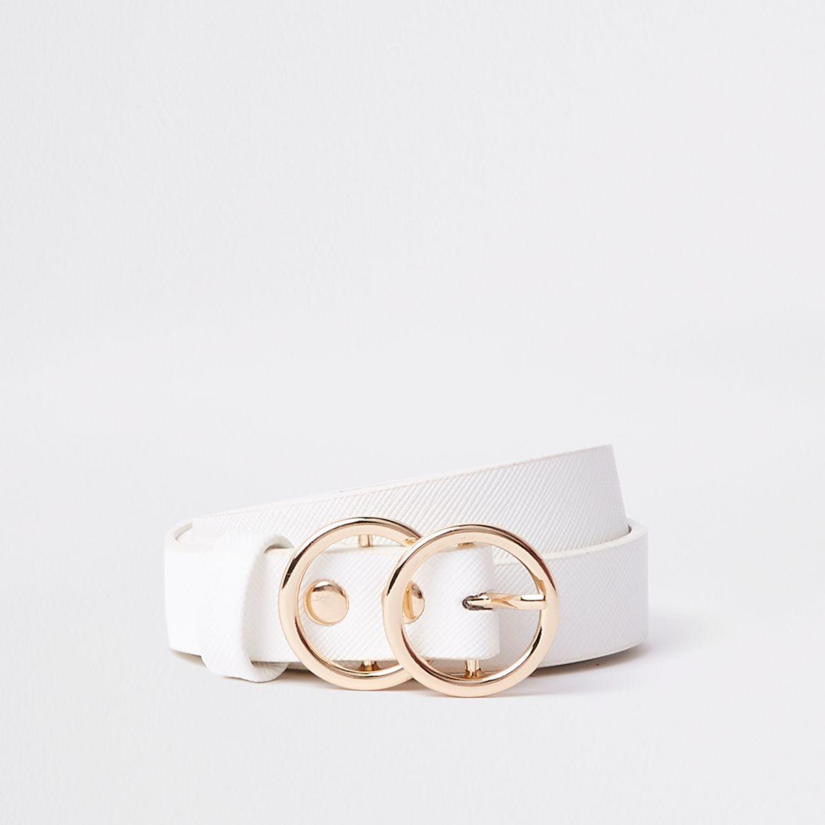Girls white double circle belt
