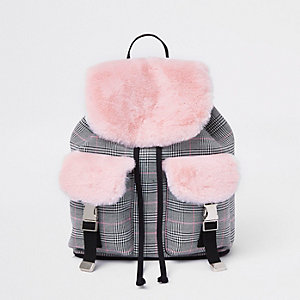 Girls pink check faux fur backpack