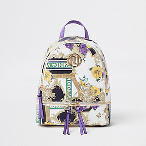 Girls purple RI baroque print backpack