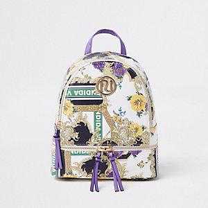 Sac à dos à imprimé baroque violet avec logo RI fille