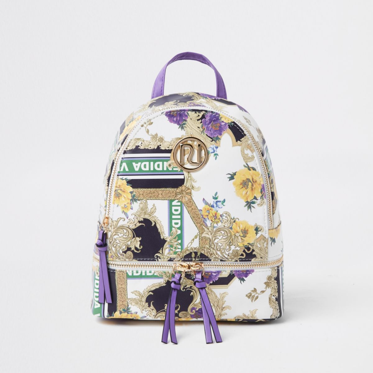 Girls purple RI baroque print backpack