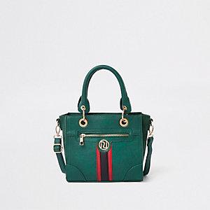 Grüne Tote Bag mit Kontraststreifen