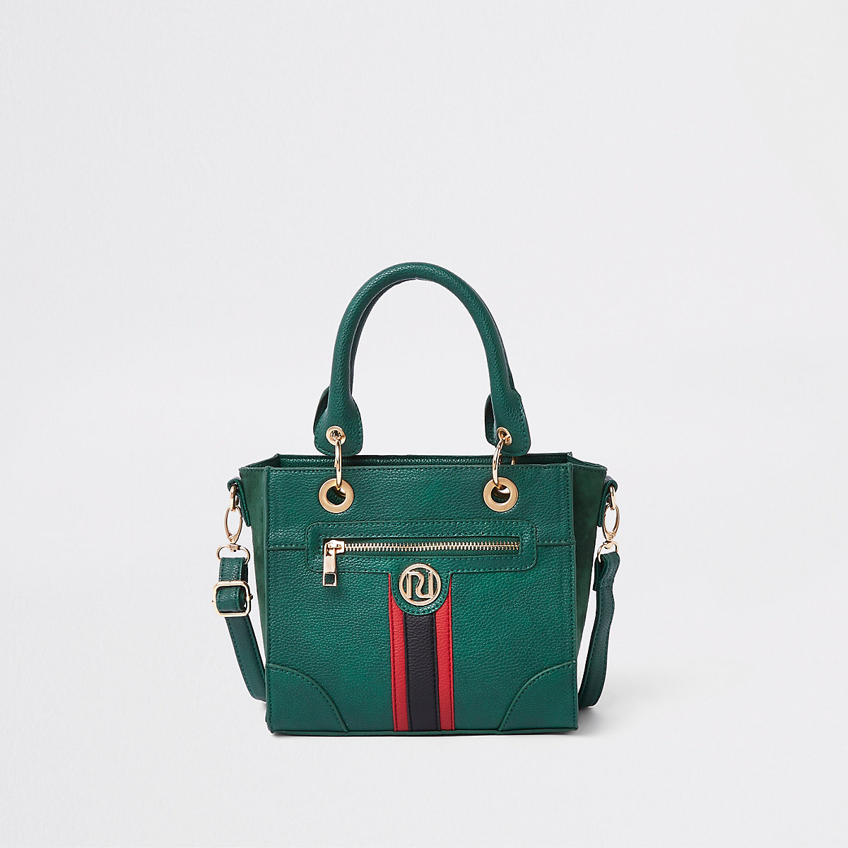 Girls green contrast stripe boxy tote bag