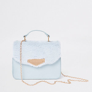 Girls blue faux fur satchel cross body bag