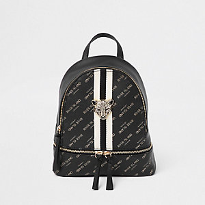 Girls black RI leopard charm backpack