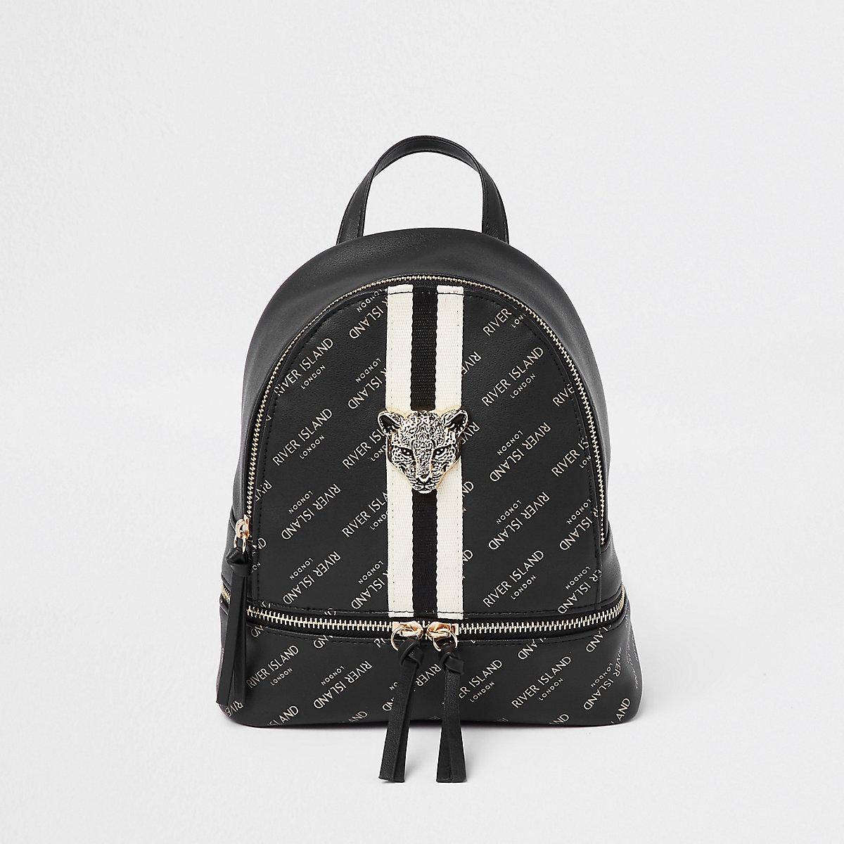 Girls black RI leopard charm backpack